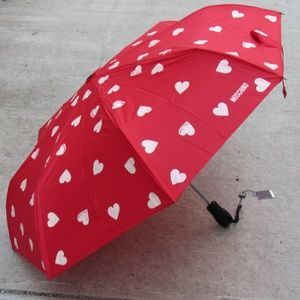 Moschino Hearts Automatic Umbrella Red/White NWT